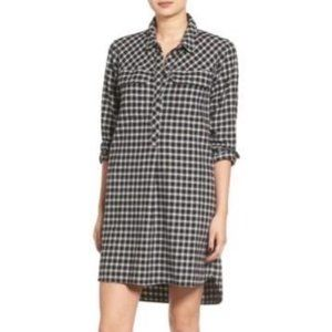 Madewell Latitude Shirt Dress Black Check